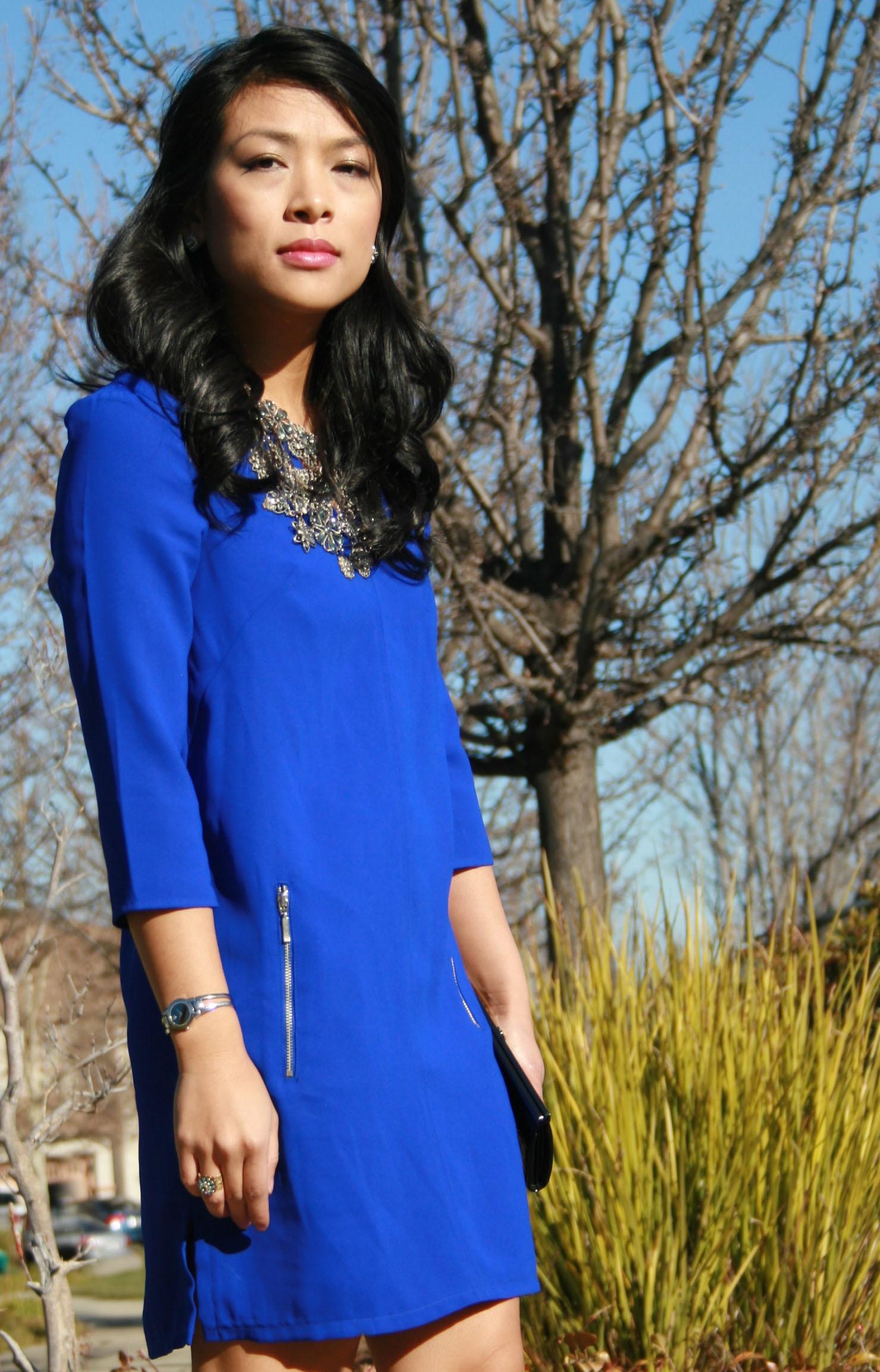 Chic Blue Dress Royal Blue Shift H&m Dress Old